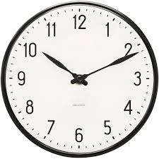 Station Wall Clock, Black - Arne Jacobsen @ RoyalDesign.co.uk